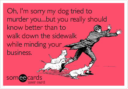 Oh, I'm sorry my dog tried to murder you....but you really should know better than towalk down the sidewalkwhile minding yourbusiness.