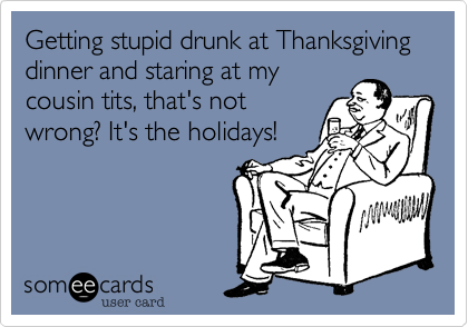 Getting stupid drunk at Thanksgiving dinner and staring at mycousin tits, that's notwrong? It's the holidays!
