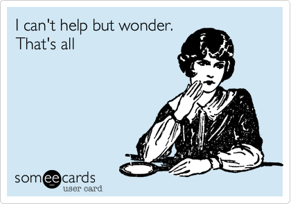 I can't help but wonder.That's all