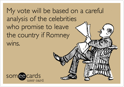 My vote will be based on a careful analysis of the celebrities