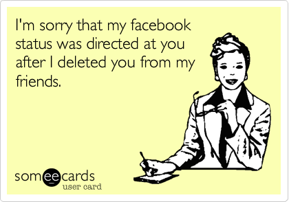 I'm sorry that my facebook