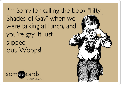"I'm Sorry for calling the book ""Fifty Shades of Gay"" when we