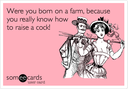 Were you born on a farm, because you really know howto raise a cock!
