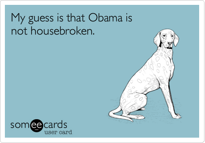 My guess is that Obama isnot housebroken.