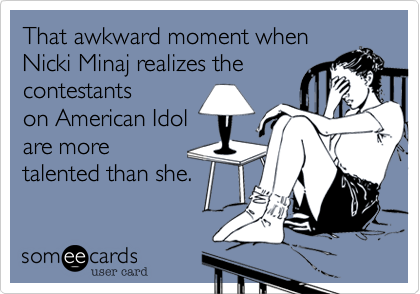 That awkward moment when  Nicki Minaj realizes the 
