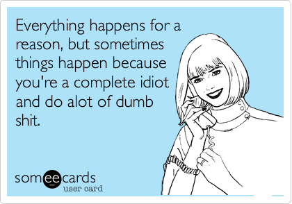 Everything happens for areason, but sometimesthings happen becauseyou're a complete idiotand do alot of dumbshit.