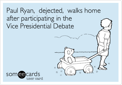 Paul Ryan,  dejected,  walks homeafter participating in theVice Presidential Debate