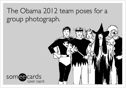 The Obama 2012 team poses for a group photograph.