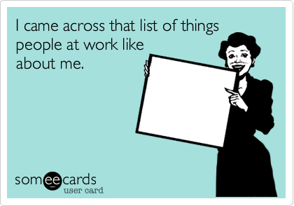 I came across that list of things