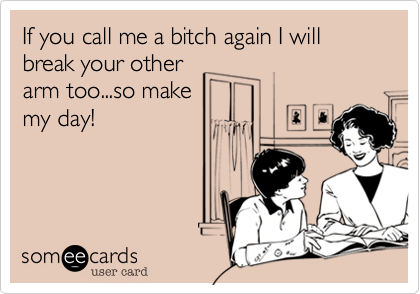 If you call me a bitch again I will break your otherarm too...so makemy day!