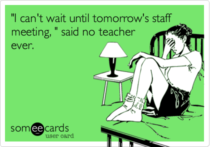 """I can't wait until tomorrow's staff