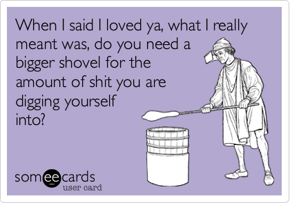 When I said I loved ya, what I really meant was, do you need a