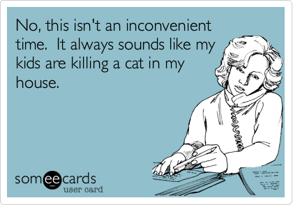 No, this isn't an inconvenienttime.  It always sounds like mykids are killing a cat in myhouse.