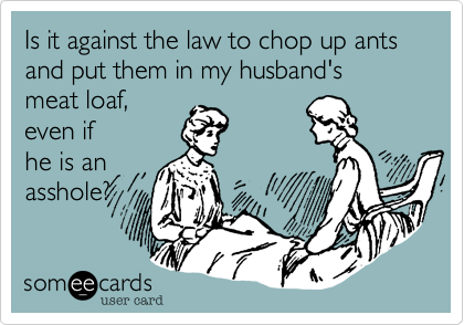 Is it against the law to chop up ants and put them in my husband's