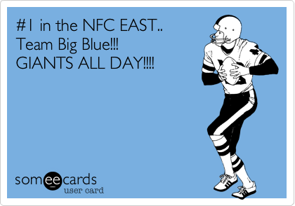 #1 in the NFC EAST..Team Big Blue!!!GIANTS ALL DAY!!!!