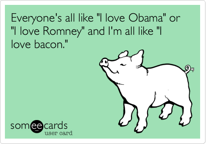 "Everyone's all like ""I love Obama"" or ""I love Romney"" and I'm all like ""I love bacon."""