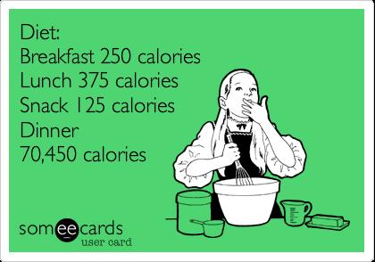 Diet:Breakfast 250 caloriesLunch 375 caloriesSnack 125 caloriesDinner70,450 calories