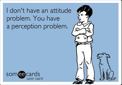 I don't have an attitudeproblem. You havea perception problem.
