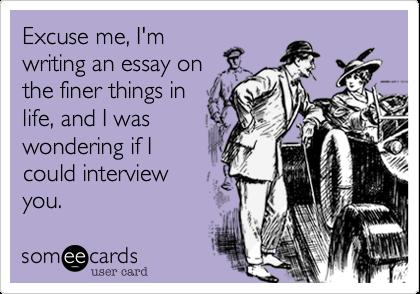 I'm writing an essay?