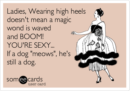 """Ladies, Wearing high heelsdoesn't mean a magicwond is wavedand BOOM!YOU'RE SEXY...If a dog """"meows"""", he'sstill a dog."""