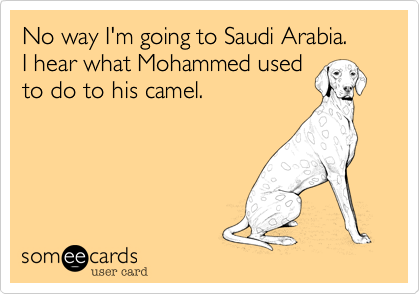 No way I'm going to Saudi Arabia.I hear what Mohammed usedto do to his camel.