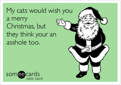 My cats would wish youa merryChristmas, butthey think your anasshole too.
