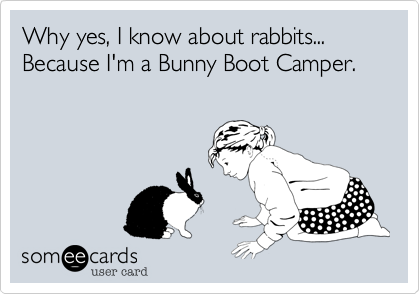 Why yes, I know about rabbits... Because I'm a Bunny Boot Camper.