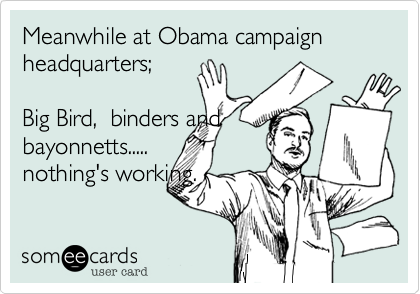 Meanwhile at Obama campaign headquarters;Big Bird,  binders andbayonnetts.....nothing's working.