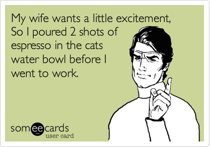 My wife wants a little excitement,