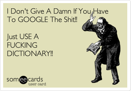 I Don't Give A Damn If You Have To GOOGLE The Shit!! Just USE AFUCKINGDICTIONARY!!
