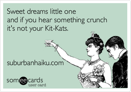 Sweet dreams little one and if you hear something crunch it's not your Kit-Kats.suburbanhaiku.com