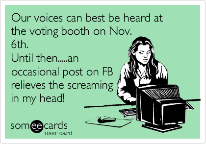 Our voices can best be heard at the voting booth on Nov.6th.Until then.....anoccasional post on FBrelieves the screamingin my head!