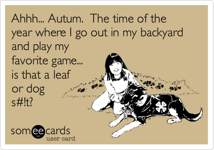Ahhh... Autum.  The time of the year where I go out in my backyard and play myfavorite game... is that a leaf or dog s#!t?