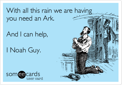 With all this rain we are havingyou need an Ark. And I can help,I Noah Guy.