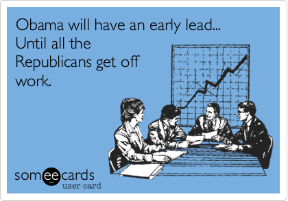 Obama will have an early lead... Until all the