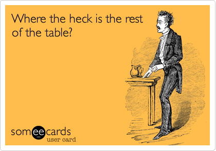 Where the heck is the restof the table?