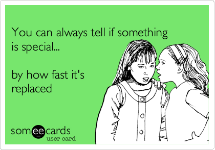 You can always tell if something       is special...by how fast it'sreplaced