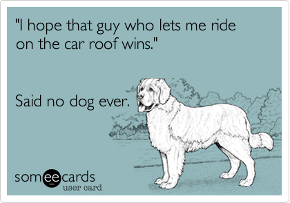 """I hope that guy who lets me ride on the car roof wins.""   