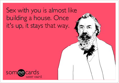 Sex with you is almost likebuilding a house. Onceit's up, it stays that way.