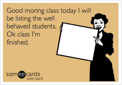 Good moring class today I will