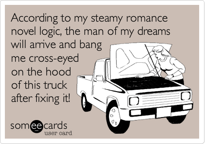 According to my steamy romance novel logic, the man of my dreams will arrive and bang