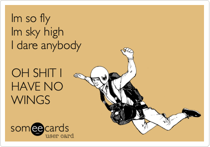 Im so fly Im sky highI dare anybodyOH SHIT IHAVE NOWINGS