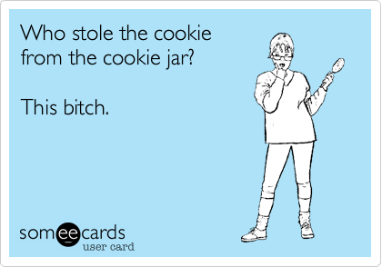 Who stole the cookie from the cookie jar?This bitch.