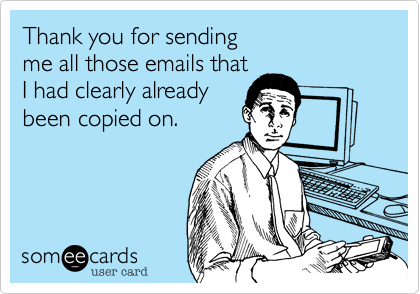 Thank you for sendingme all those emails thatI had clearly alreadybeen copied on.