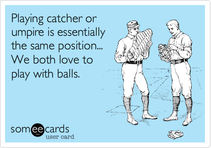 Playing catcher orumpire is essentiallythe same position...We both love toplay with balls.