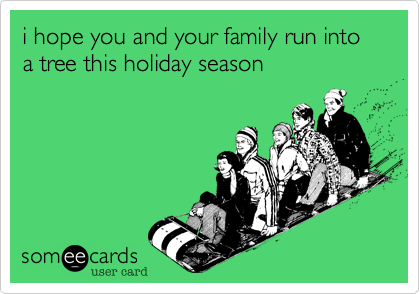 i hope you and your family run into a tree this holiday season