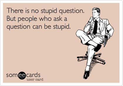There is no stupid question.But people who ask aquestion can be stupid.