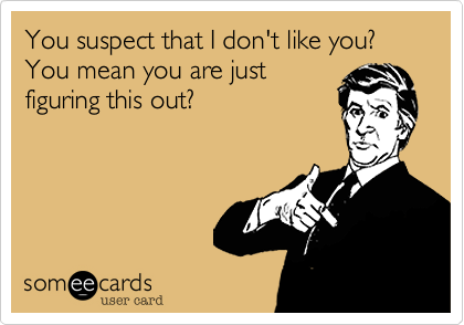You suspect that I don't like you? You mean you are just figuring this out?