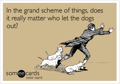 In the grand scheme of things, does it really matter who let the dogs out?