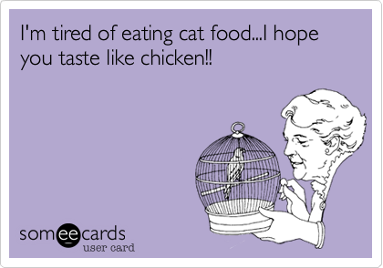 I'm tired of eating cat food...I hope you taste like chicken!!